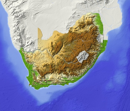 South Africa. Shaded relief map with major urban areas. Surrounding territory greyed out. Colored according to elevation. Includes clip path for the state area. Projection: Mercator Extents: 1337-38-20 Data source: NASA photo