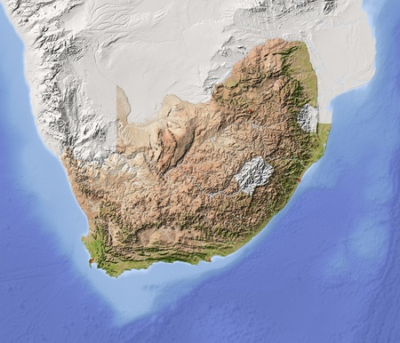South Africa. Shaded relief map with major urban areas. Surrounding territory greyed out. Colored according to vegetation. Includes clip path for the state area. Projection: Mercator Extents: 1337-38-20 Data source: NASA photo