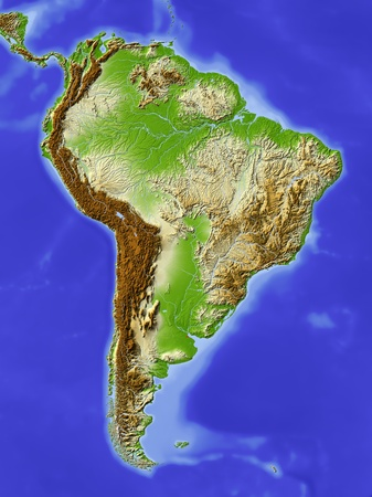 South America. Shaded relief map. Colored according to elevation. Projection Lambert Azimuthal Equal Area -60/-13Extents: -107/-55/-30/18rData source: NASA