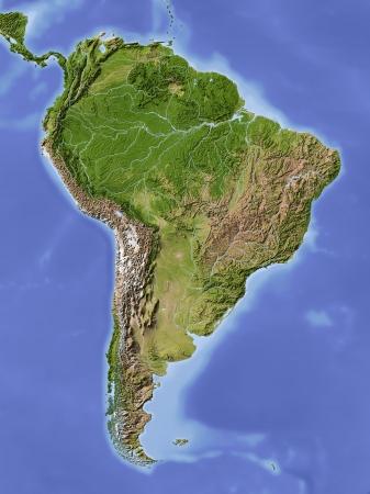 América del Sur. Mapa en relieve sombreado. Pintado de acuerdo a la vegetación. Proyección azimutal de Lambert -60/-13Extents �rea de Igualdad: fuente -107/-55/-30/18rData: NASA Foto de archivo - 10962351