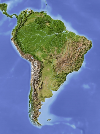 South America. Shaded relief map. Colored according to vegetation. Projection Lambert Azimuthal Equal Area -60/-13Extents: -107/-55/-30/18rData source: NASA