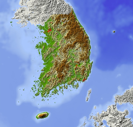 bathymetry: South Korea. Shaded relief map. Surrounding territory greyed out. Colored according to elevation. Includes clip path for the state area.Projection: MercatorExtents: 12413232.839 Stock Photo