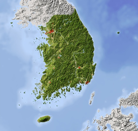South Korea. Shaded relief map. Surrounding territory greyed out. Colored according to vegetation. Includes clip path for the state area.Projection: MercatorExtents: 124/132/32.8/39