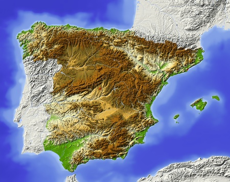 Spain. Shaded relief map. Surrounding territory greyed out. Colored according to elevation. Includes clip path for the state area.Projection: MercatorExtents: -10.4/5/35.5/44.8