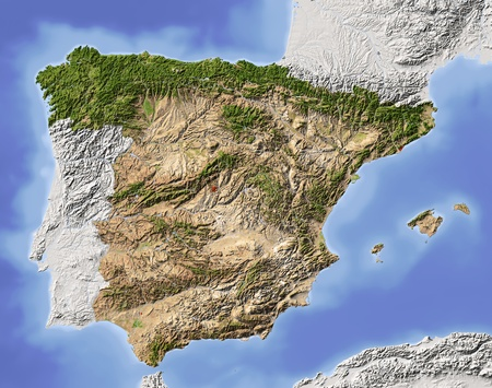 Spain. Shaded relief map. Surrounding territory greyed out. Colored according to vegetation. Includes clip path for the state area.Projection: MercatorExtents: -10.4/5/35.5/44.8
