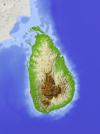 Sri Lanka. Shaded relief map with major urban areas. Surrounding territory greyed out. Colored according to elevation. Includes clip path for the state area.Projection: Standard MercatorExtents: 78.5, 83.0, 5.0, 11.0Data source: NASA photo
