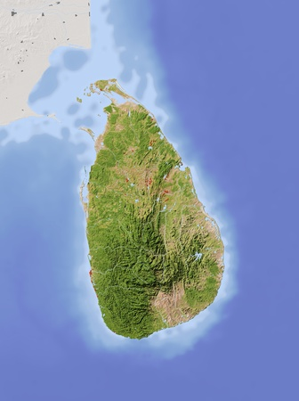 Sri Lanka. Shaded relief map with major urban areas. Surrounding territory greyed out. Colored according to vegetation. Includes clip path for the state area.Projection: Standard MercatorExtents: 78.5, 83.0, 5.0, 11.0Data source: NASA Imagens - 10962337