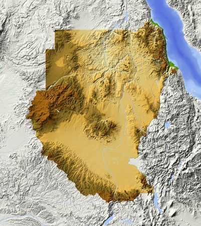 sudan: Sudan. Shaded relief map. Surrounding territory greyed out. Colored according to elevation. Includes clip path for the state area.Projection: MercatorExtents: 1941125Data source: NASA Stock Photo