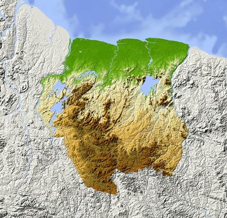 suriname: Suriname. Gearceerde reliëfkaart. Omliggende gebied grijs. Gekleurd volgens hoogte. Inclusief clip pad voor de staat area.Projection: MercatorExtents: -59-531.27Data bron: NASA