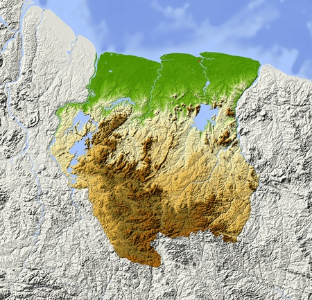 Suriname. Shaded relief map. Surrounding territory greyed out. Colored according to elevation. Includes clip path for the state area.Projection: MercatorExtents: -59/-53/1.2/7Data source: NASA Standard-Bild