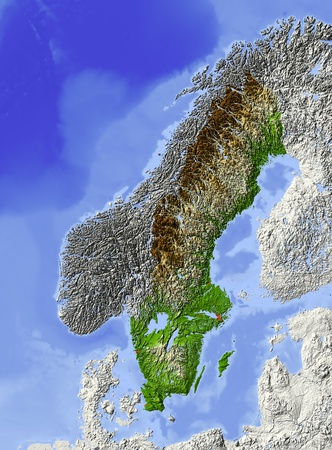 Sweden. Shaded relief map, with major urban areas. Surrounding territory greyed out. Colored according to elevation. Includes clip path for the state area.