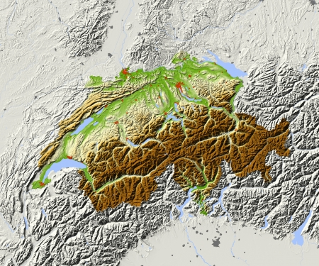 Switzerland. Shaded relief map. Surrounding territory greyed out. Colored according to elevation. Includes clip path for the state area.Projection: MercatorExtents: 5.4/11/45.2/48.4Data source: NASA