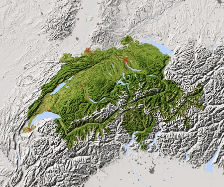 Switzerland. Shaded relief map. Surrounding territory greyed out. Colored according to vegetation. Includes clip path for the state area.Projection: MercatorExtents: 5.4/11/45.2/48.4Data source: NASA