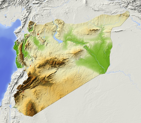 Syria. Shaded relief map with major urban areas. Surrounding territory greyed out. Colored according to elevation. Includes clip path for the state area.Data source: NASA