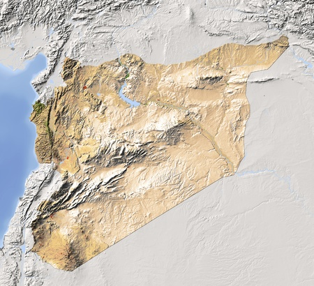 Syria. Shaded relief map. Surrounding territory greyed out. Colored according to vegetation. Includes clip path for the state area.Projection: MercatorExtents: 35/43/32/38