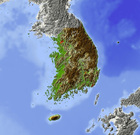 South Korea. Shaded relief map, with major urban areas. Surrounding territory greyed out. Colored according to elevation. Includes clip path for the state area.