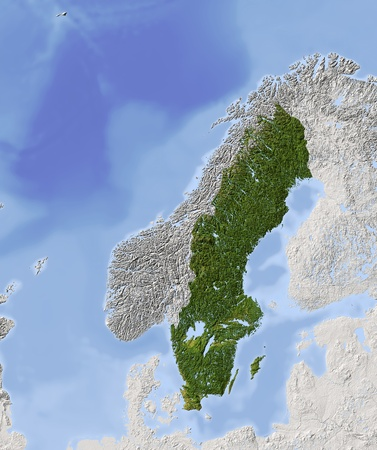 Sweden. Shaded relief map. Surrounding territory greyed out. Colored according to vegetation. Includes clip path for the state area.Projection: Lambert Conic Conformal 20/60/35/73Extents: 0/52//35/73