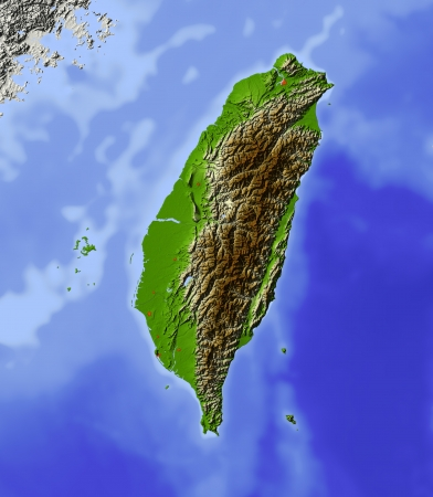 Taiwan. Shaded relief map, with major urban areas. Surrounding territory greyed out. Colored according to terrain height.