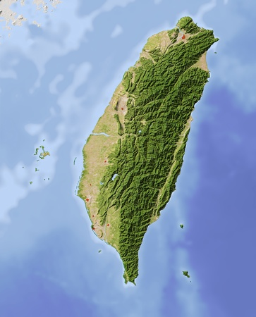 Taiwan. Shaded relief map, with major urban areas. Surrounding territory greyed out. Colored according to vegetation. Projection: MercatorExtents: 119/122.5/21.5/25.5Data source: NASA
