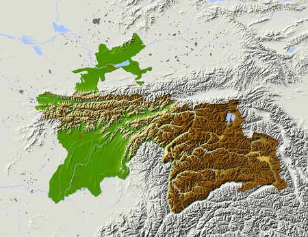 state boundary: Tajikistan, shaded relief map. Colored according to elevation, with major urban areas. Includes clip path for the state boundary.  Projection: Mercator ; Geographic extents: W: 66.3; E: 75.8; S: 36.1; N: 41.8