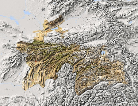 state boundary: Tajikistan, shaded relief map. Colored according to vegetation, with major urban areas. Includes clip path for the state boundary.  Projection: Mercator ; Geographic extents: W: 66.3; E: 75.8; S: 36.1; N: 41.8