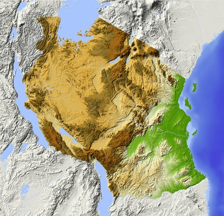 Tanzania. Shaded relief map. Surrounding territory greyed out. Colored according to elevation. Includes clip path for the state area. Projection: Mercator Extents: 28.341.5-12.70 Data source: NASA photo
