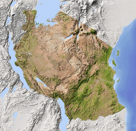 Tanzania. Shaded relief map. Surrounding territory greyed out. Colored according to vegetation. Includes clip path for the state area.Projection: MercatorExtents: 28.3/41.5/-12.7/0Data source: NASA