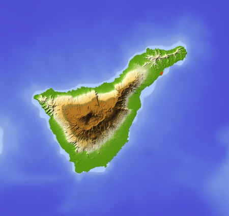 Tenerife. Shaded relief map. Colored according to elevation. Includes clip path for the land area. Projection: Mercator Extents: -17.1-15.927.828.8  photo