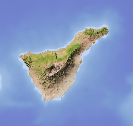 Tenerife. Shaded relief map. Colored according to vegetation. Includes clip path for the land area. Projection: Mercator Extents: -17.1-15.927.828.8  Stok Fotoğraf