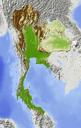 bathymetry: Thailand. Shaded relief map. Surrounding territory greyed out. Colored according to elevation. Includes clip path for the state area. Projection: Mercator Extents: 96107421 Data source: NASA