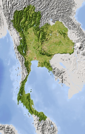 physical geography: Thailand. Shaded relief map. Surrounding territory greyed out. Colored according to vegetation. Includes clip path for the state area. Projection: Mercator Extents: 96107421 Data source: NASA Stock Photo