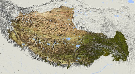 bathymetry: Tibet. Shaded relief map. Surrounding territory greyed out. Colored according to elevation and dominant vegetation. Includes clip path for the state area.
