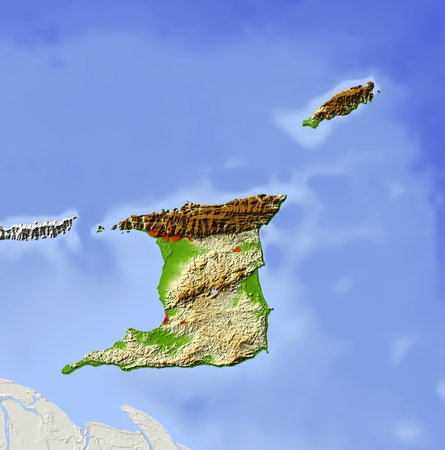 state boundary: Trinidad and Tobago, shaded relief map. Colored according to elevation, with major urban areas. Includes clip path for the state boundary.  Projection: Mercator ; Geographic extents: W: -62.2; E: -60.2; S: 9.7; N: 11.7