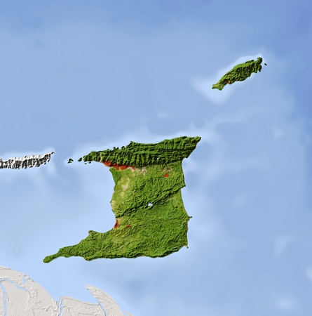 topography: Trinidad and Tobago, shaded relief map. Colored according to vegetation, with major urban areas. Includes clip path for the state boundary.  Projection: Mercator ; Geographic extents: W: -62.2; E: -60.2; S: 9.7; N: 11.7 Stock Photo