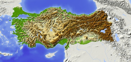 Turkey. Shaded relief map with major urban areas. Surrounding territory greyed out. Colored according to elevation. Includes clip path for the state area.Projection: MercatorExtents: -75/-58/-1/14Data source: NASA