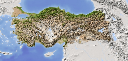 nasa: Turkey. Shaded relief map with major urban areas. Surrounding territory greyed out. Colored according to vegetation. Includes clip path for the state area. Projection: Mercator Extents: -75-58-114 Data source: NASA Stock Photo