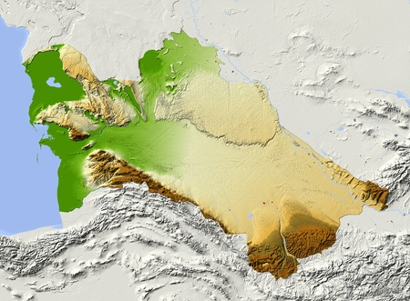 turkmenistan: Turkmenistan, shaded relief map. Colored according to elevation, with major urban areas. Includes clip path for the state boundary.  Projection: Mercator ; Geographic extents: W: 51.6; E: 67.5; S: 34.5; N: 43.6 Stock Photo