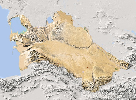turkmenistan: Turkmenistan, shaded relief map. Colored according to vegetation, with major urban areas. Includes clip path for the state boundary.  Projection: Mercator ; Geographic extents: W: 51.6; E: 67.5; S: 34.5; N: 43.6