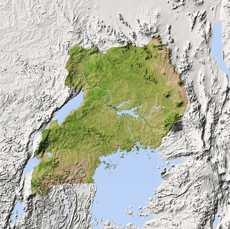 Uganda. Shaded relief map. Surrounding territory greyed out. Colored according to vegetation. Includes clip path for the state area.Projection: MercatorExtents: 28.5/31.2/-3.2/-0.7Data source: NASA