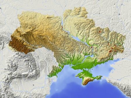 topografia: Ucrania. Mapa en relieve sombreado con las principales zonas urbanas. Territorio circundante de color gris. Pintado de acuerdo a la elevaci�n. Incluye el camino del clip para el �rea de estado. Proyecci�n: Extensi�n de Mercator: 21414353 Fuente de datos: NASA
