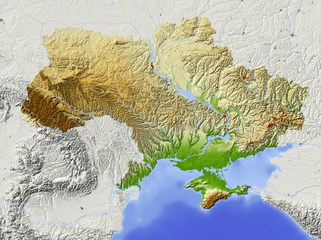 Ukraine. Shaded relief map with major urban areas. Surrounding territory greyed out. Colored according to elevation. Includes clip path for the state area.Projection: MercatorExtents: 21/41/43/53Data source: NASA