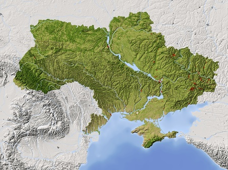 Ukraine. Shaded relief map. Umliegende Gebiet ausgegraut. Farbig nach Vegetation. Inklusive Clip-Pfad für den staatlichen Bereich. Projektion: Mercator Extents: 21/41/43/53