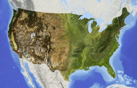 usa map: USA. Shaded relief map of the conterminous USA. Surrounding territory greyed out. Colored according to elevation and dominant vegetation. Includes clip path for the state area. Stock Photo