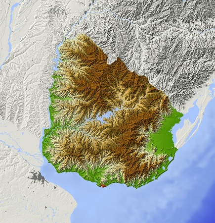 bathymetry: Uruguay. Shaded relief map with major urban areas. Surrounding territory greyed out. Colored according to elevation. Includes clip path for the state area. Projection: Mercator Extents: -60-52-36-29 Data source: NASA Stock Photo