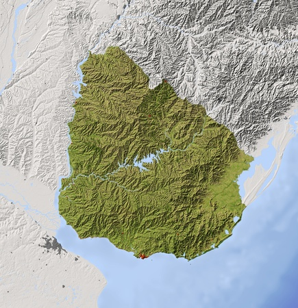 Uruguay. Shaded relief map with major urban areas. Surrounding territory greyed out. Colored according to vegetation. Includes clip path for the state area. Projection: Mercator Extents: -60-52-36-29 Data source: NASA photo