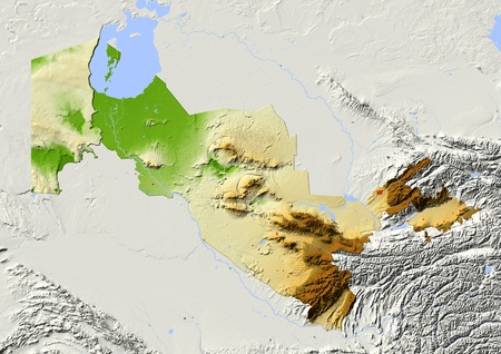 Uzbekistan, shaded relief map. Colored according to elevation, with major urban areas. Includes clip path for the state boundary. Projection: Mercator ; Geographic extents: W: 54.8; E: 73.9; S: 36.5; N: 46.6