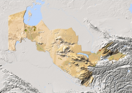 state boundary: Uzbekistan, shaded relief map. Colored according to vegetation, with major urban areas. Includes clip path for the state boundary.  Projection: Mercator ; Geographic extents: W: 54.8; E: 73.9; S: 36.5; N: 46.6 Stock Photo