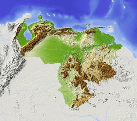 mapa de venezuela: Venezuela. Mapa en relieve sombreado con las principales zonas urbanas. Territorio circundante de color gris. De color de acuerdo a la elevación. Incluye clip de ruta para el área de estado. Proyección: Extensión de Mercator: -75-58-114 Fuente: NASA Foto de archivo
