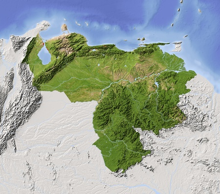 topographic map: Venezuela. Shaded relief map with major urban areas. Surrounding territory greyed out. Colored according to vegetation. Includes clip path for the state area. Projection: Mercator Extents: -75-58-114 Data source: NASA Stock Photo