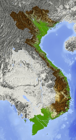 elevation: Vietnam. Shaded relief map. Surrounding territory greyed out. Colored according to elevation. Includes clip path for the state area. Stock Photo
